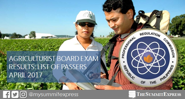 LIST OF PASSERS: April 2017 Agriculturist board exam results