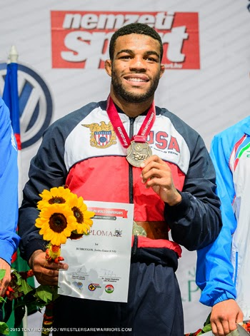 754e943b3203d7 Jordan Burroughs won the 2013 World Championships on a Broken Ankle! Photo  from themat.com