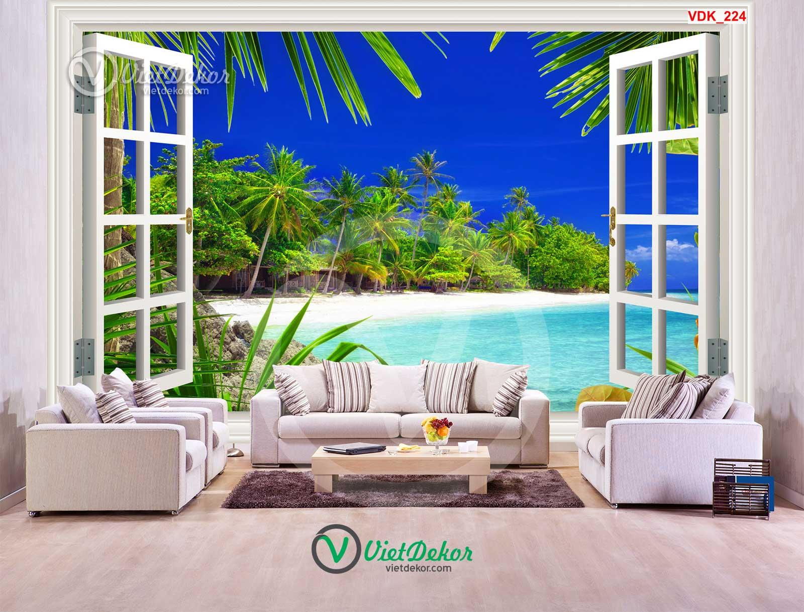 Tranh dán tường 3d cửa sổ cây và biển