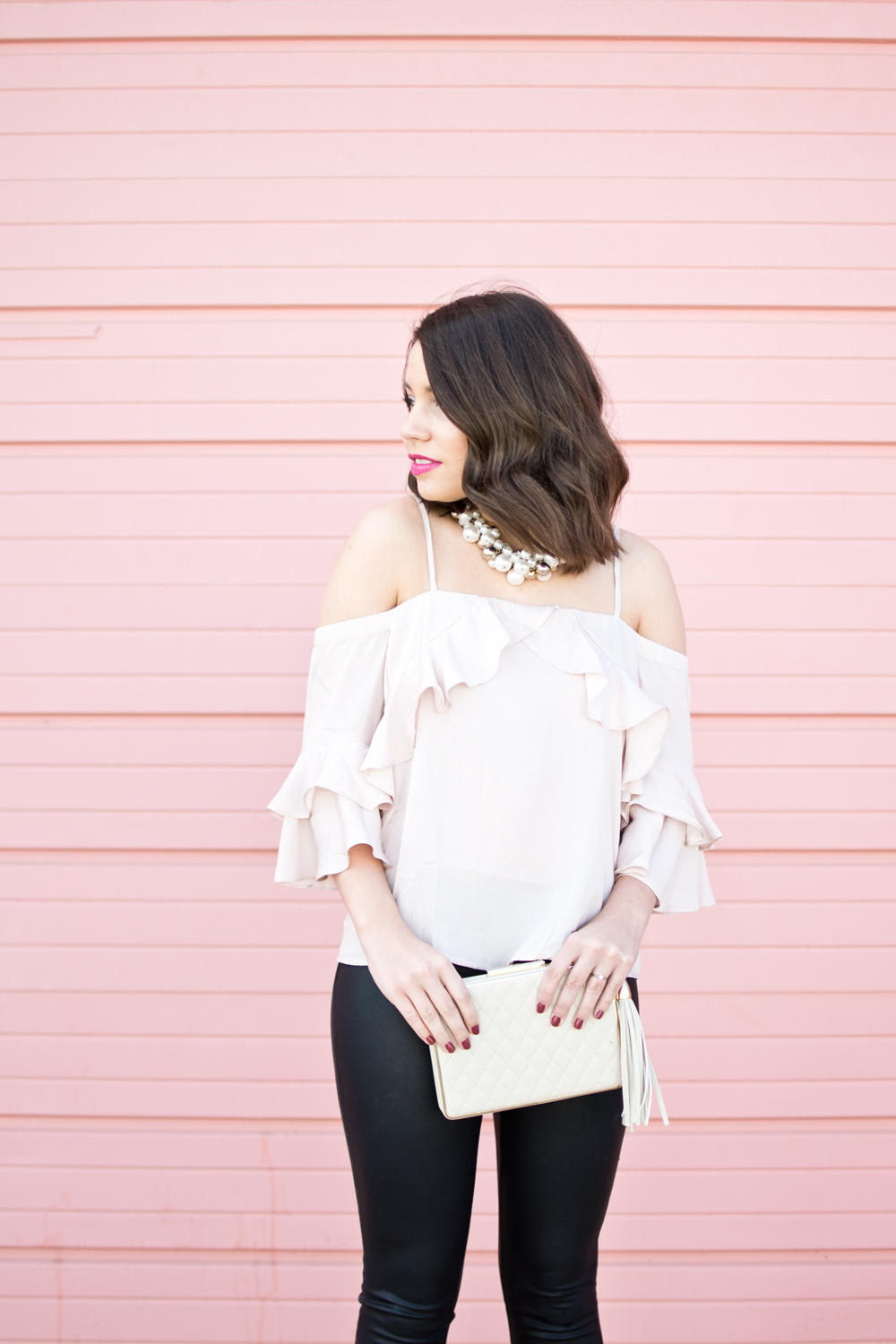 valentines outfit, cold shoulder top, galentines outfit, leather leggings, valentines ootd, spring outfit, valentines outfit inspiration