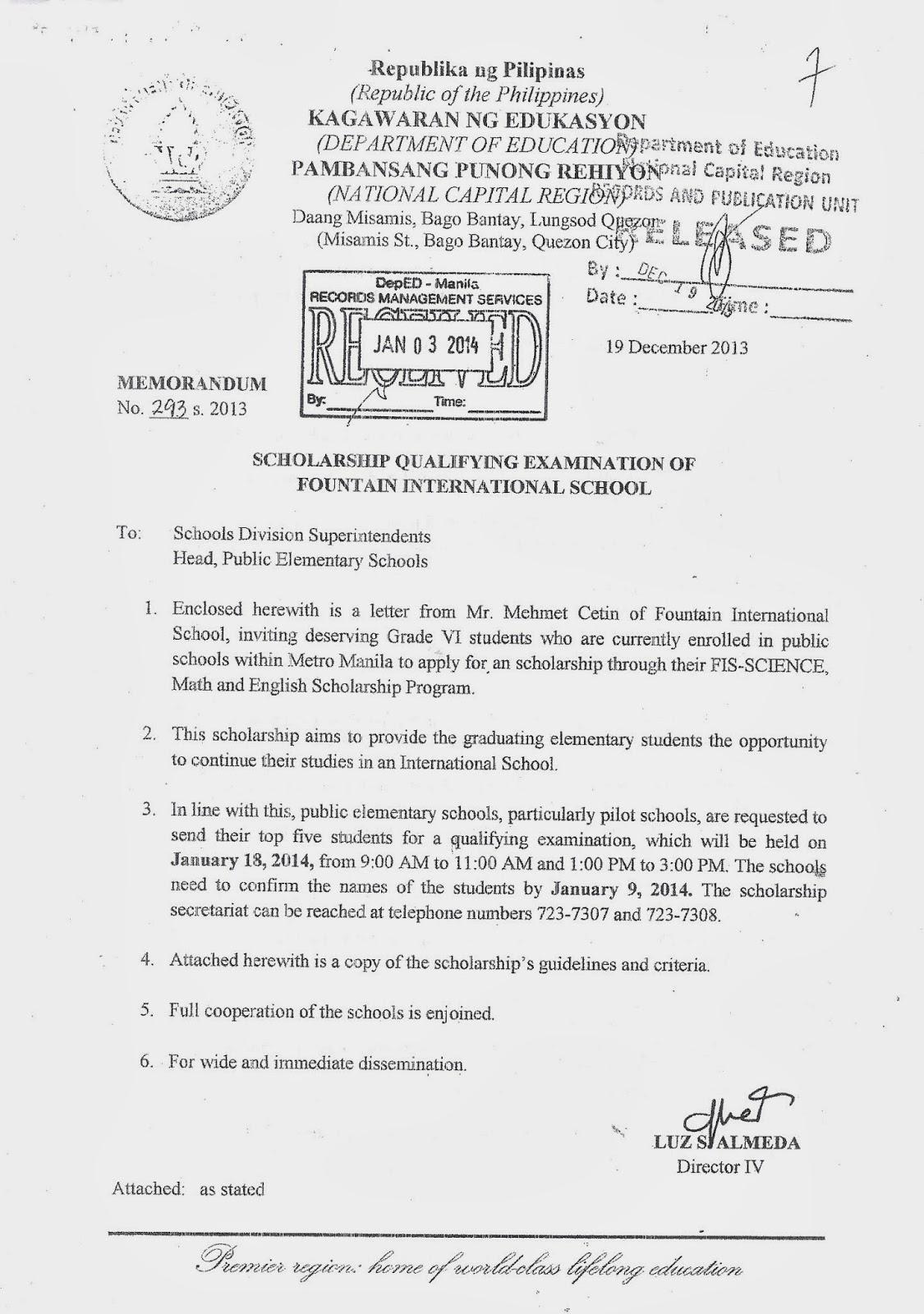Department of Education Manila: Division Memorandum No. 14