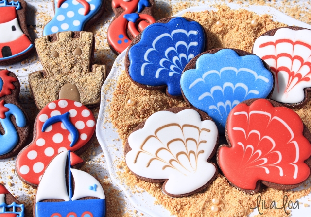 Cookie decorating tutorial -- decorated seashell cookies