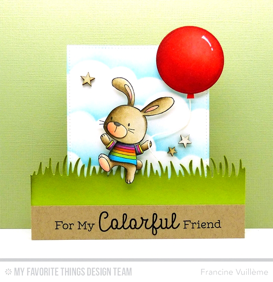 Handmade card from Francine Vuillème featuring Rainbow Greetings and Snuggle Bunnies stamp sets, Grassy Edges, Stitched Cloud Edges, Circle STAX Set 1, and Pierced Square STAX Die-namics #mftstamps