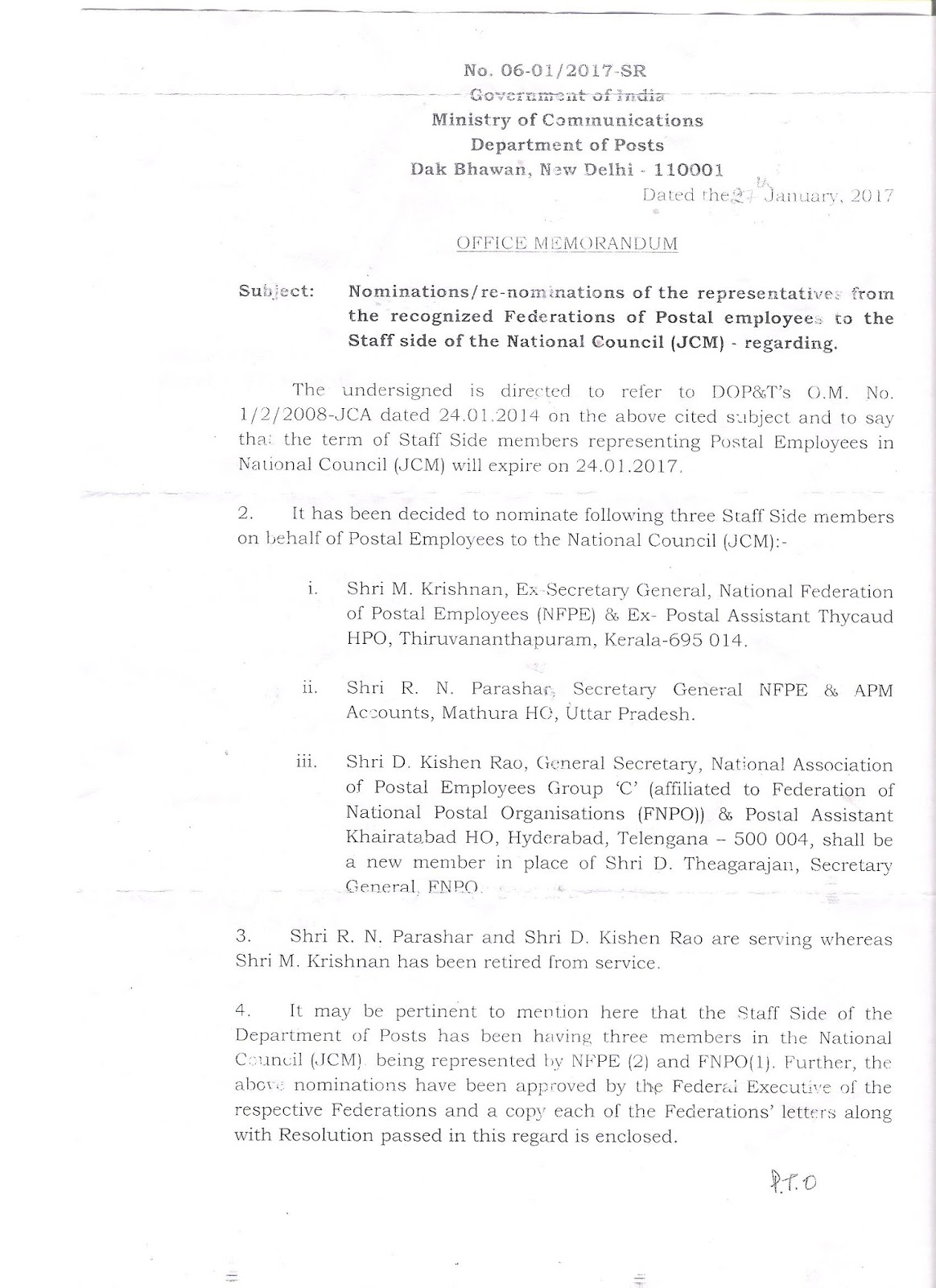 all rms and mms employees union mailguards multi tasking department of posts nominated staff side member of the national council jcm