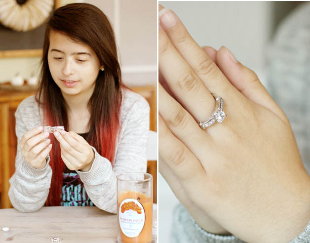 Samantha Garay trying Fragrant Jewels ring