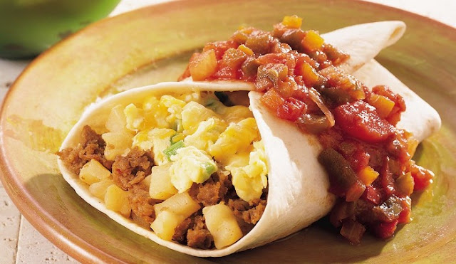 healthy breakfast burrito, sausage and potato burrito, breakfast burrito