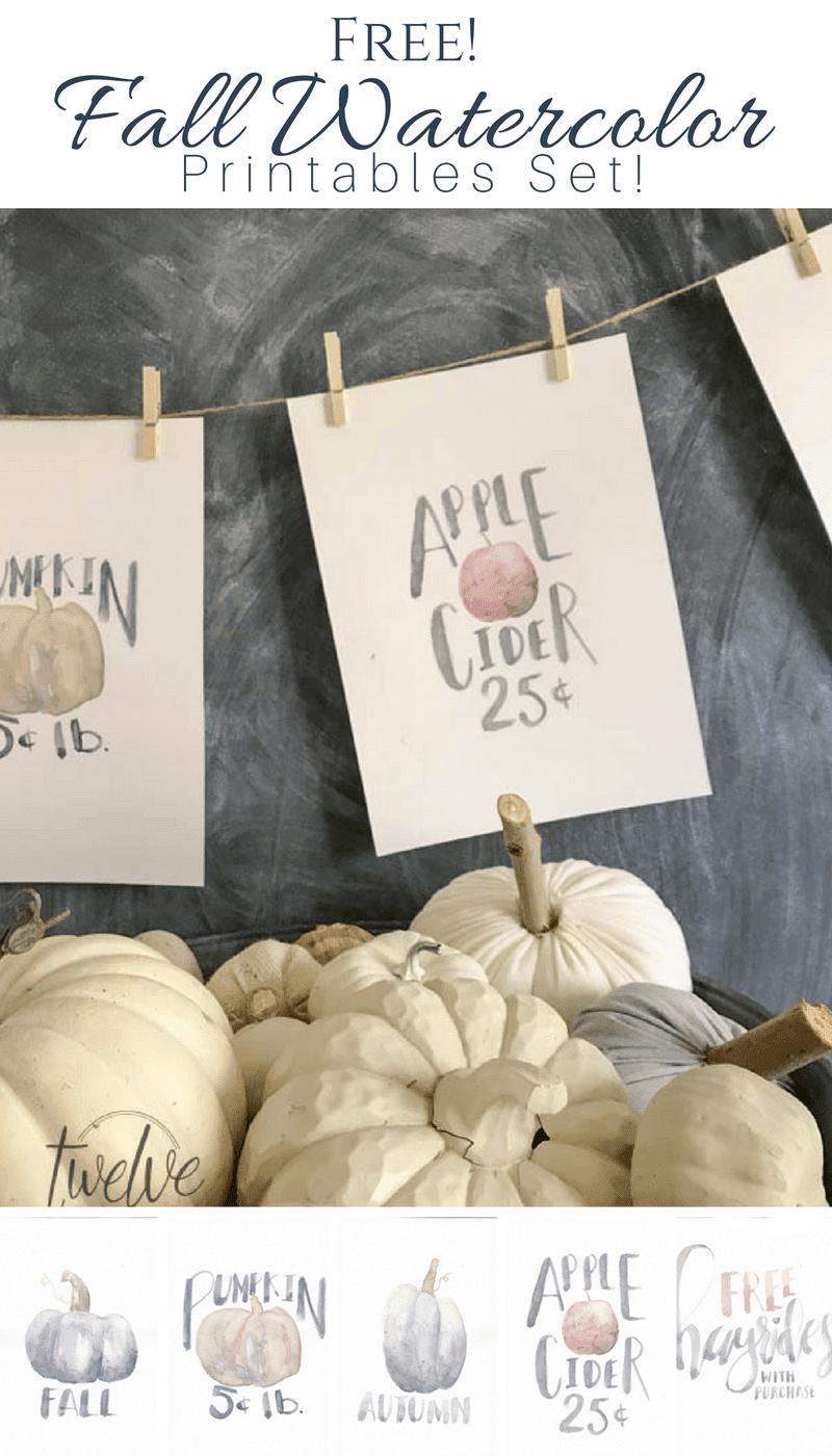 Fall watercolor free printables