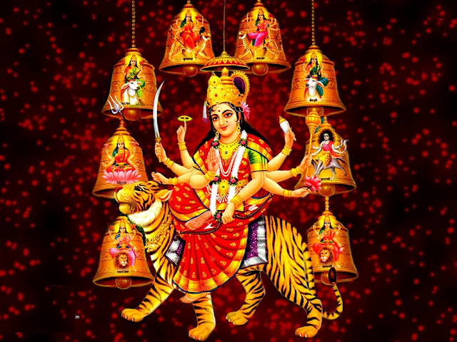 Maa Durga  Wallpaper In Red Background