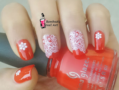Red white lace nail art