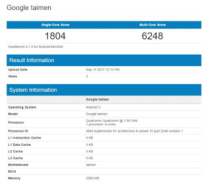Google Taimen with Android O Spotted on Geekbench