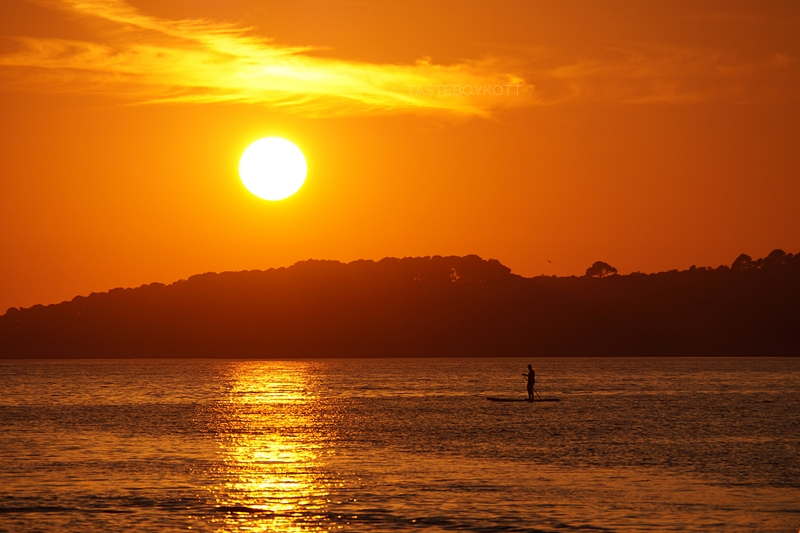 Surfer vor Sonnenuntergang in Kroatien am Meer   Sommer, Sonne, Urlaub   Tasteboykott