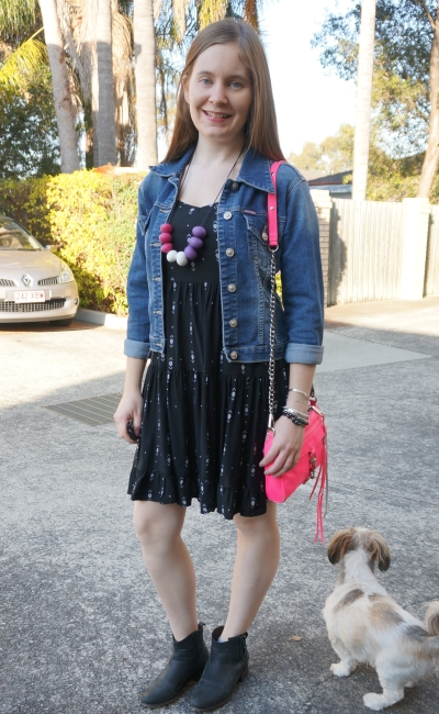 aztec print back dress, ankle boots, denim jacket pink cross body bag for spring | Away From Blue