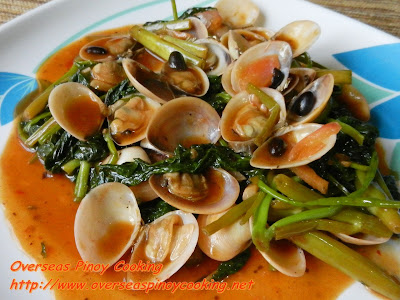 Clams with Kangkong in Chili and Black Bean Sauce