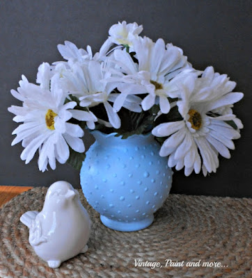 diy blue hobnail glass done with paint and a dollar store vase
