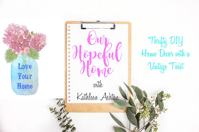Our Hopeful Home blog with clipboard and mason jar with hydrangeas.