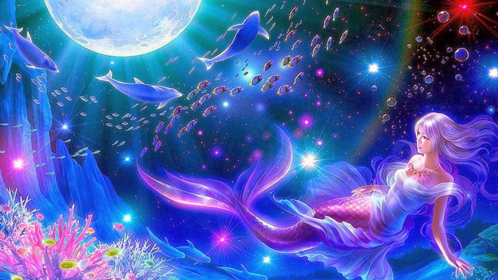 All new wallpaper : Mermaid moon fantasy widescreen hd wallpaper