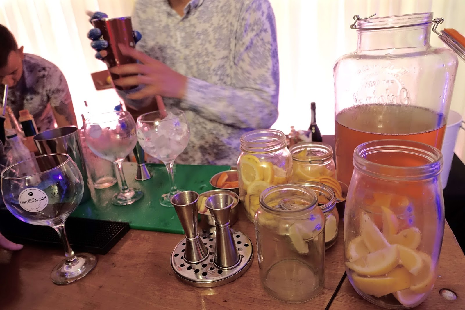 cocktail bar in action at gin festival