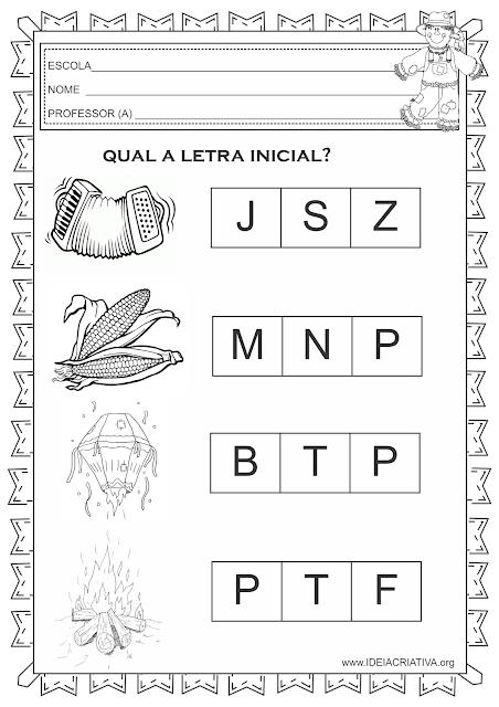 Atividade Letra Inicial Festas Juninas Educação Infantil