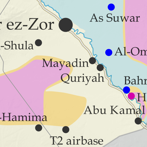 Map of Syrian Civil War (Syria control map): Fighting and territorial control in Syria in June 2018 (Free Syrian Army rebels, Kurdish YPG, Syrian Democratic Forces (SDF), Hayat Tahrir al-Sham (HTS / Al-Nusra Front), Islamic State (ISIS/ISIL), and others). Includes Russia-Turkey-Iran agreed de-escalation zones and US deconfliction zone, plus recent locations of conflict and territorial control changes, such as Dashishah, Al Kara'a, and more. Colorblind accessible.