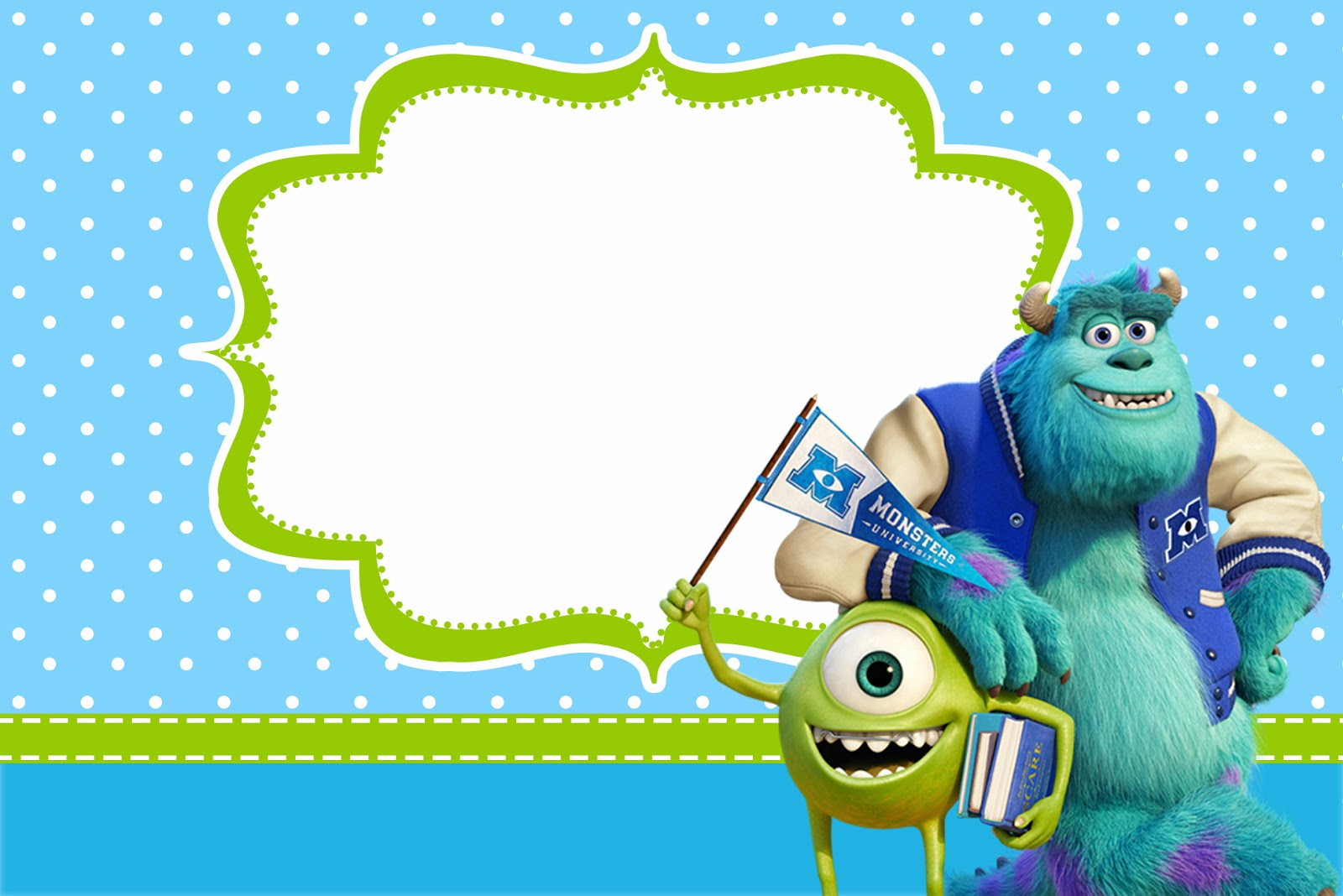 Monster university free printable party invitations oh for Templat monster
