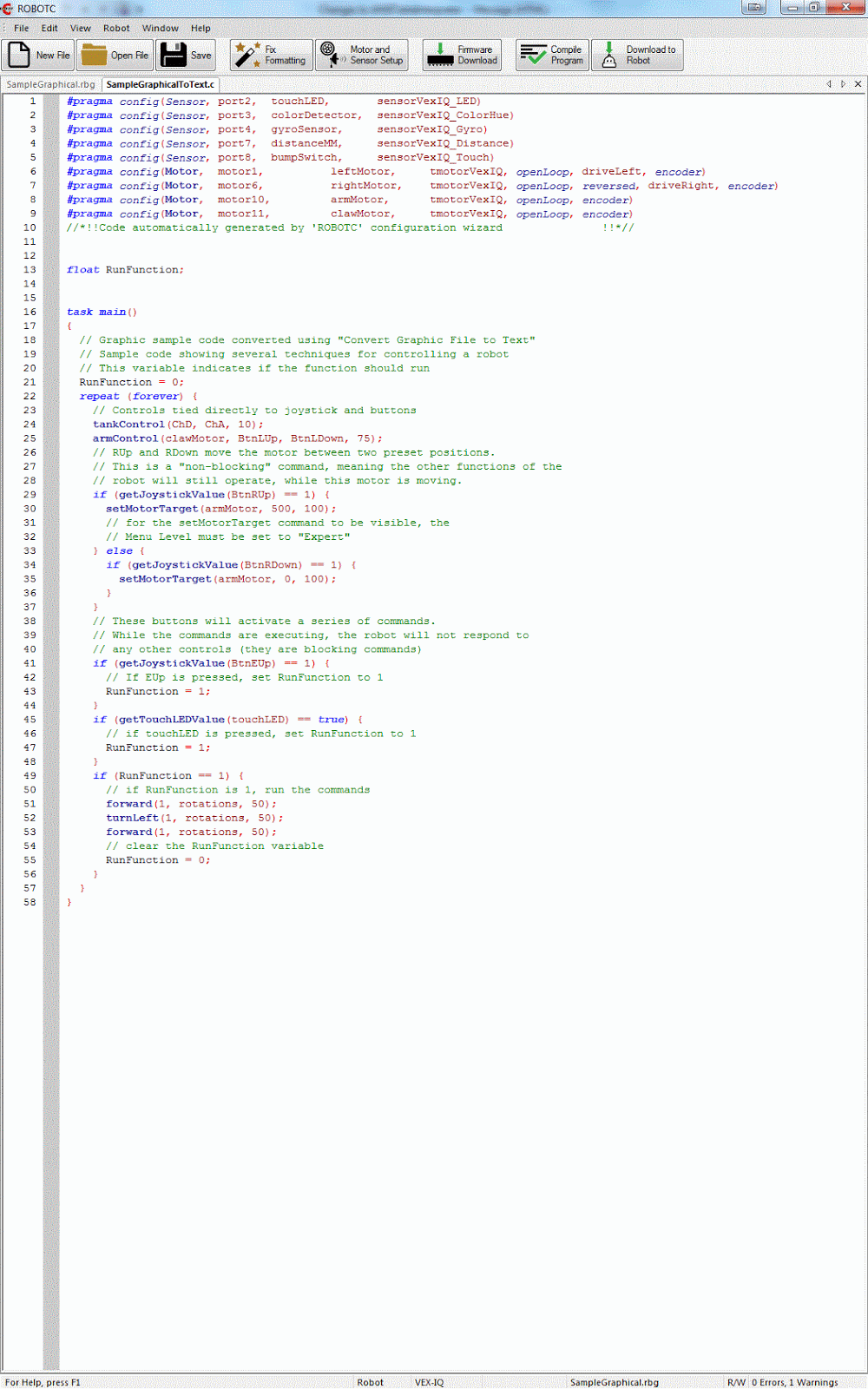 Building Robots: Sample RobotC code for VEX IQ