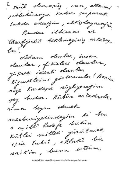 Atatürk'ün Kendi El Yazısıyla Bilinmeyen Bir Notu 2