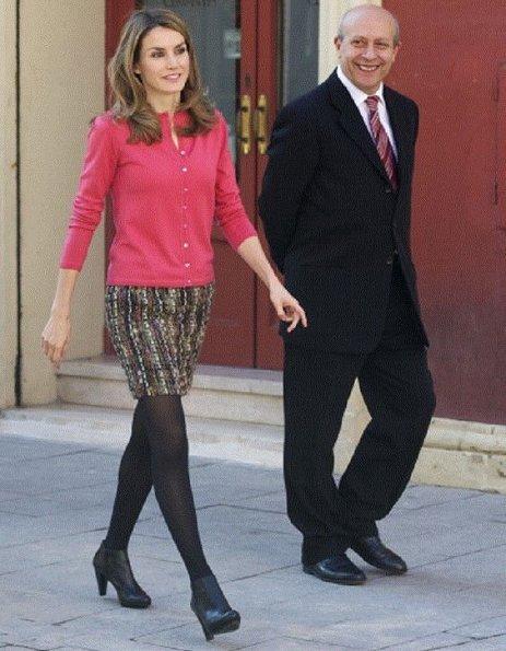 Crown Princess Letizia of Spain, Jose Ignacio Wert, Jordi Sierra and Javier Bello attended the 'Premio Cervantes Chico' at Cervantes Teatro in Alcala