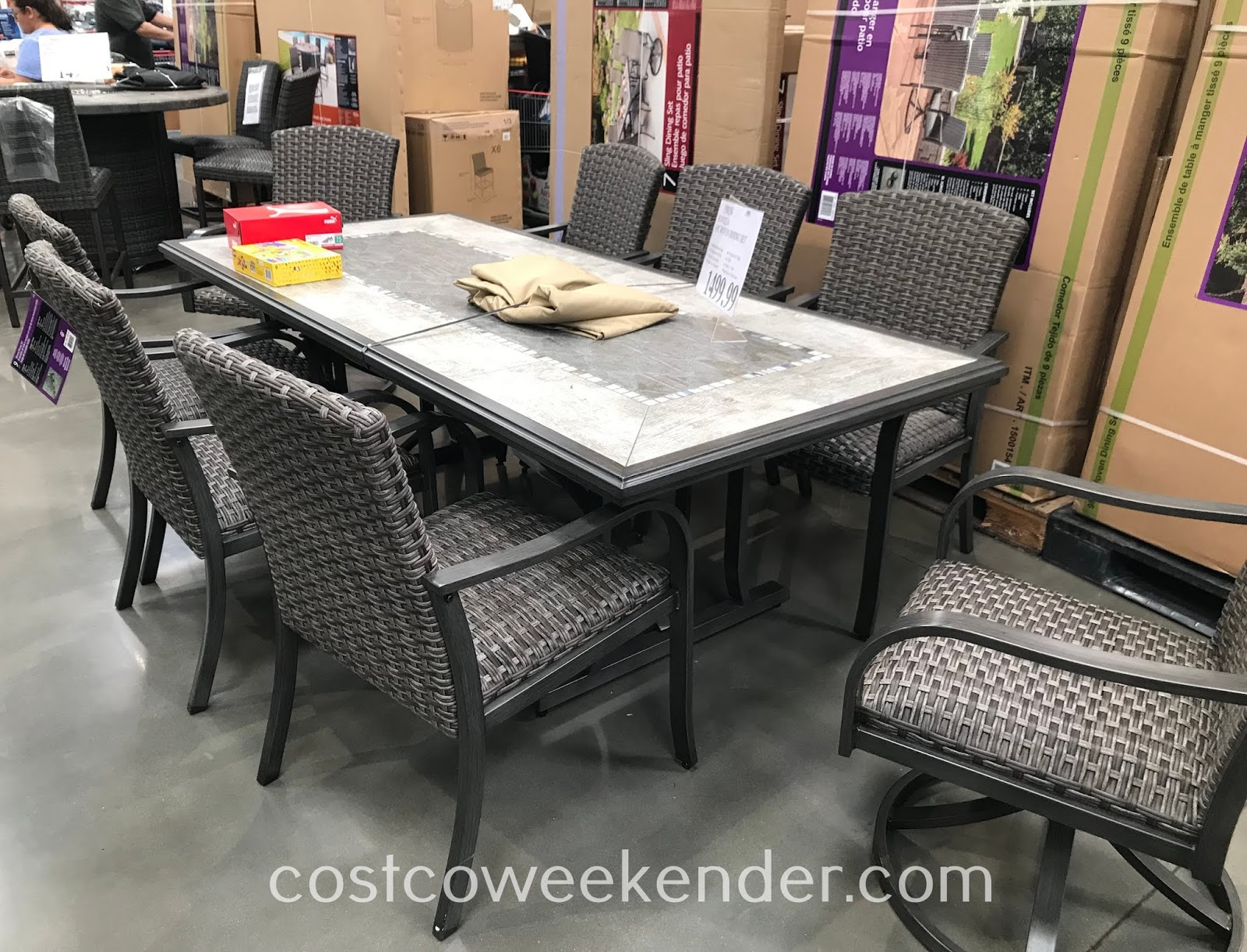 Get your outdoor space ready for the summer with the Sunvilla 9-piece Woven Dining Set