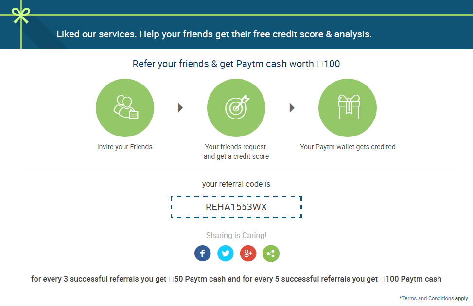 CreditMantri Refer Friends and Earn Unlimited Paytm Cash