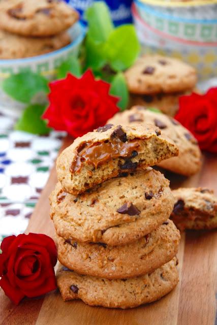 Cookies-de-platano-chocolate-dulce-de-leche