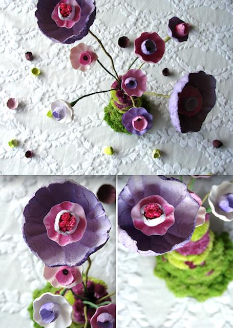 Cetrotavola green con fiori di carta e licheni, eco design Roma Alessandra Fabre Repetto