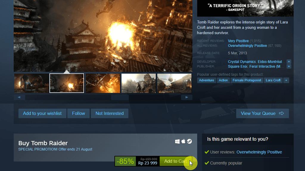 Tomb Raider 2013 Diskon Steam