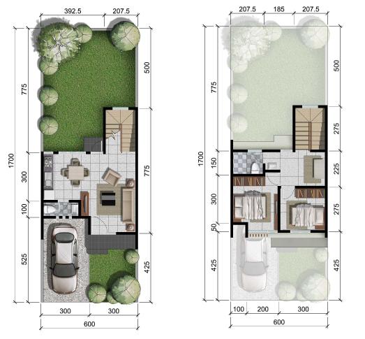 Denah rumah minimalis ukuran 6x17 meter 2 kamar tidur 2 lantai