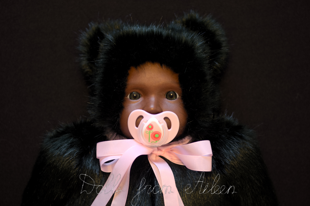 ooak lifesize baby teddy bear doll's face with dummy in mouth