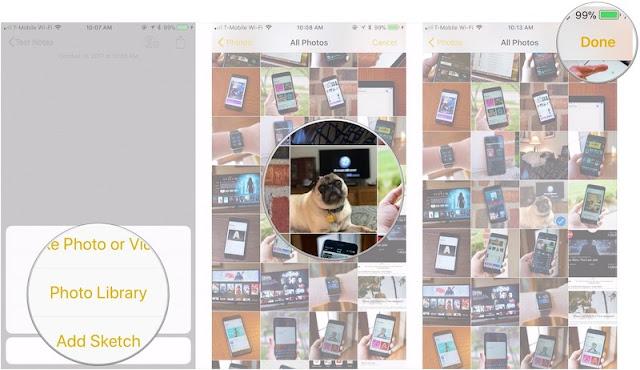 كيفية اضافة الصور ومقاطع الفيديو في تطبيق الملاحظات Notes في iOS 11