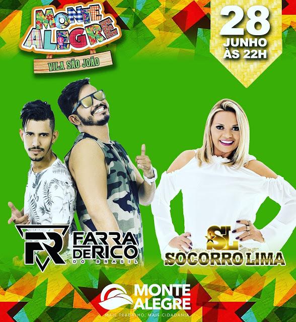 ac493976c9eb9 FARRA DE RICO E SOCORRO LIMA SÃO AS ATRAÇÕES MUSICAIS PARA FESTA DE SÃO  PEDRO EM MONTE ALEGRE