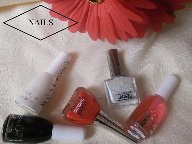 Beauty Line Cosmetics Nail Polish 202 /  Beauty Line Cosmetics Nail Polish 204 /  Beauty Line Cosmetics Base Coat 200 / Golden Rose Rich Color Nail Lacquer 101 /  Classics Glamour Nail Lacquer 137