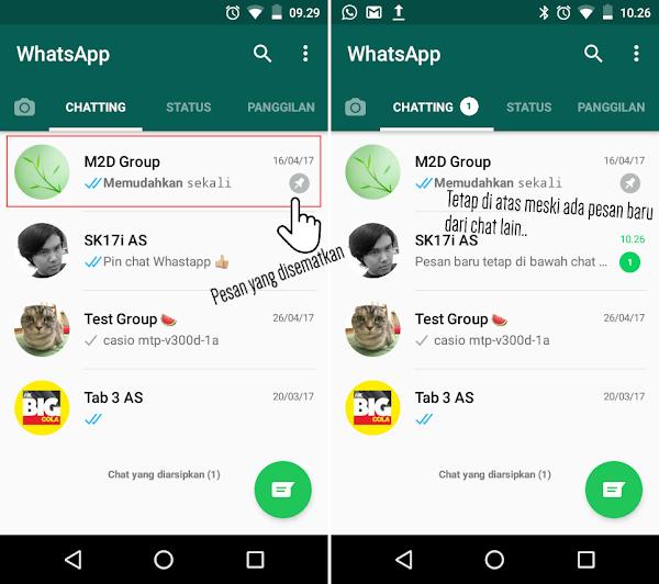 Chats WhatsApp selalu di atas