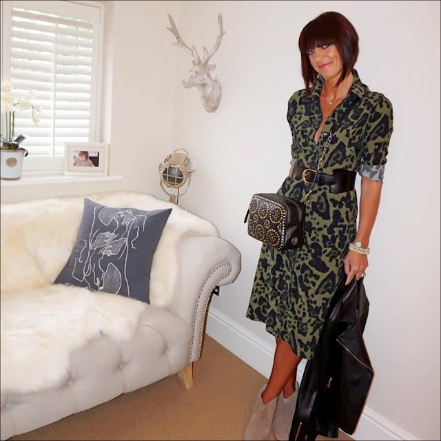 my midlife fashion, topshop leopard print midi shirt dress, village england penshaw across body bag, & other stories waist buckle belt, hudson kiver beige ankle boots, baukjen everyday biker jacket