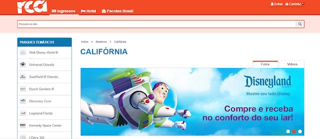 Site para comprar os ingressos dos parques da Califórnia