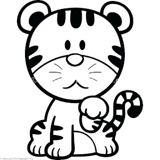 Cute Tiger Cartoon Coloring Sheet Ideas For Kids