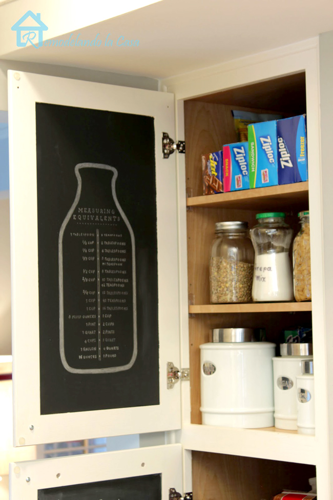 Measuring equivalent on pantry door