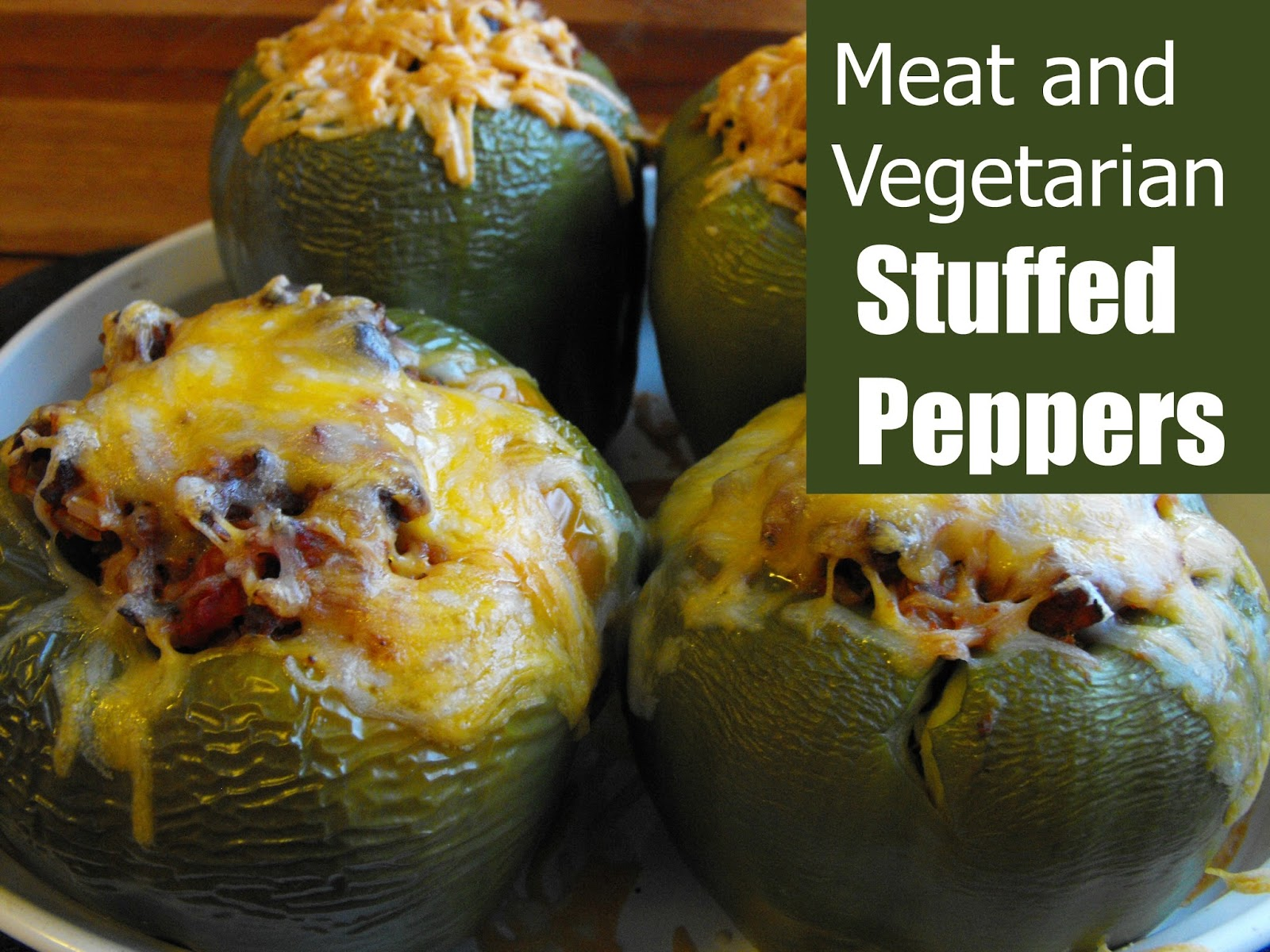 vegetarian and meat stuffed peppers