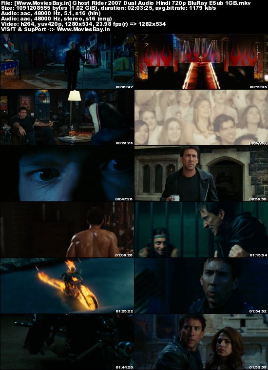 Ghost Rider 2007 Dual Audio Hindi 720p BluRay ESub 1GB worldfree4u