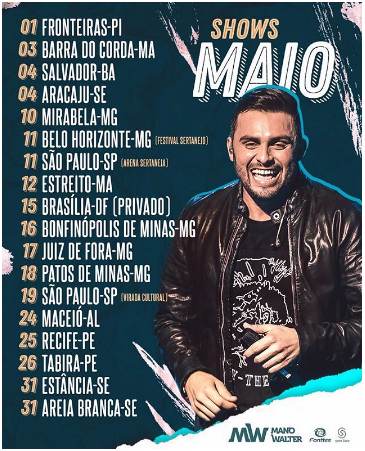 Agenda de Shows Mano Walter Maio 2019
