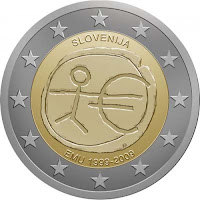 slovenia 2 euroa kolikko euro 10 vuotta 2009