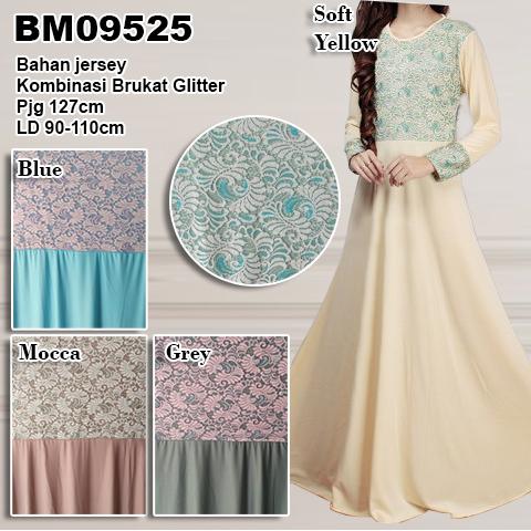 BM09525 Gamis Jersey Kombinasi Brukat Glitter By Butik Aira Sidoarjo -  distributor dan supplier busana muslim online murah langsung pin konveksi  bursa baju ... 89f07e95a4