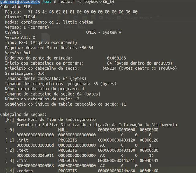 Leitura das informações do binários do toybox utilizando o comando readelf.