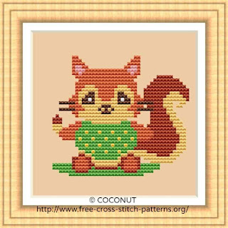 BABY SQUIRREL, FREE AND EASY PRINTABLE CROSS STITCH PATTERN