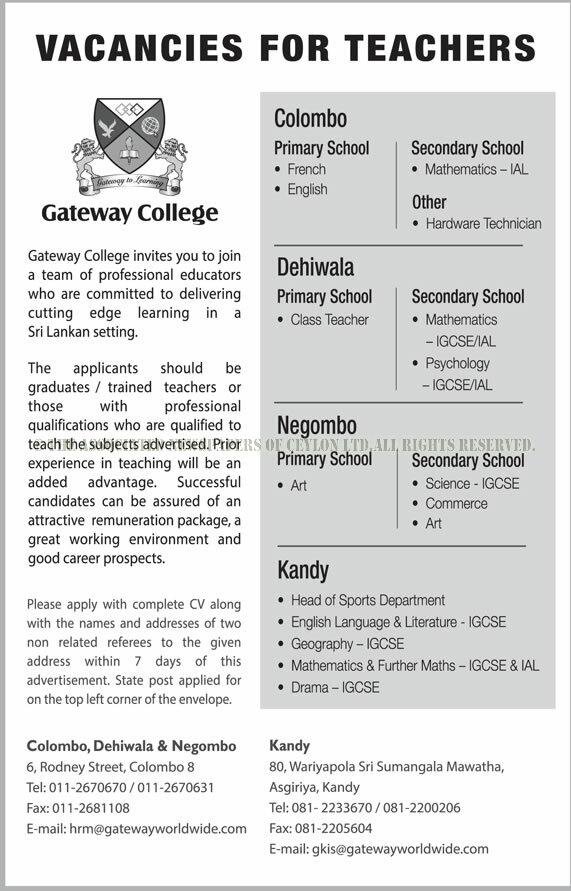 VACANCIES IN GATEWAY COLLEGE INTERNATIONAL SCHOOL (PRIVATE